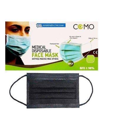 Μάσκα χειρουργική μαύρη με λάστιχο(50τμχ)