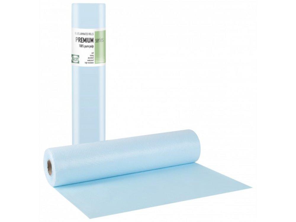 Εξεταστικό χαρτί πλαστικοποιημένο γαλάζιο 60cm