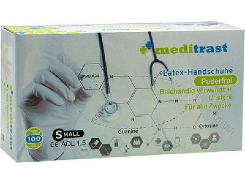 Γάντια latex Meditrast χωρίς πούδρα (100τμχ)