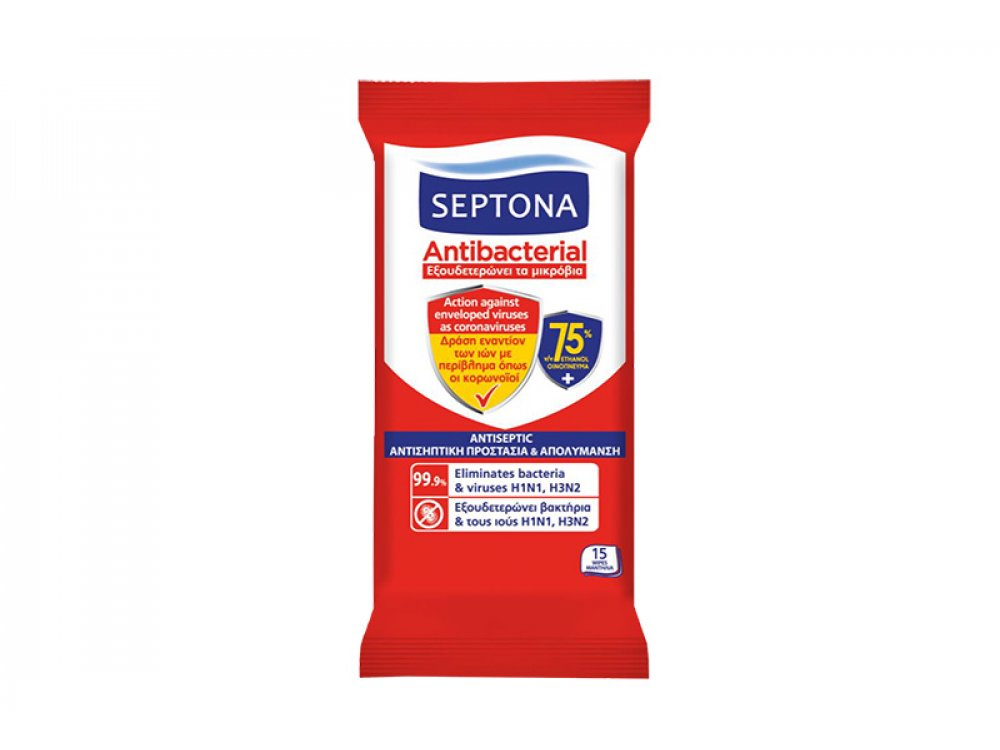Septona Aντιβακτηριακά μαντηλάκια χεριών με 75% Οινόπνευμα(15τμχ)