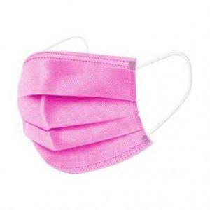 Μάσκα χειρουργική ροζ με λάστιχο(50τμχ)