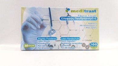 Γάντια latex Meditrast ελαφρώς πουδραρισμένα(100τμχ)